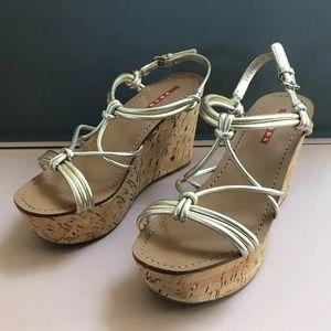 Prada Strappy Knot Cork Wedge Sandal